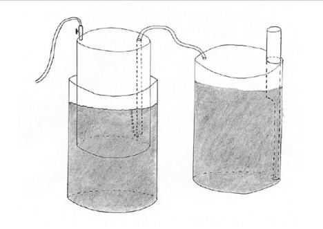 Anaerobic digesters can range from complex large-scale continuous feed systems to small scale systems constructed of steel drums such as the floating-drum system pictured here (Charlie Forst, 2001)
