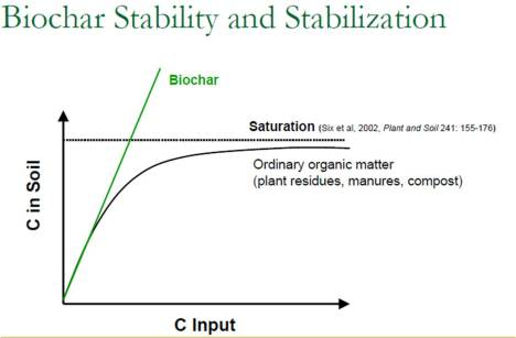 Adaptation of Six et al. (2002) carbon saturation or equilibrium.  Theoretically, biochar is not subject to this saturation point and therefore could increase total carbon storage capacity of soils.  Image courtesy Johannes Lehmann.