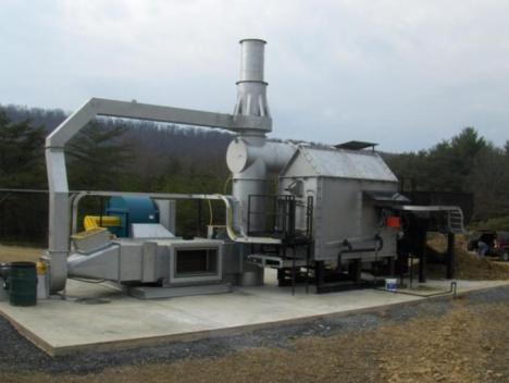 Modified gasifier made to increase biochar production from poultry litter on Mr. Joshua Frye's Farm in Hardy County, West Virginia (Coal Tec Energy)